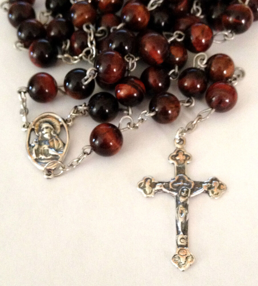 Sterling Silver Sacred Heart Tiger Eye 8mm Catholic