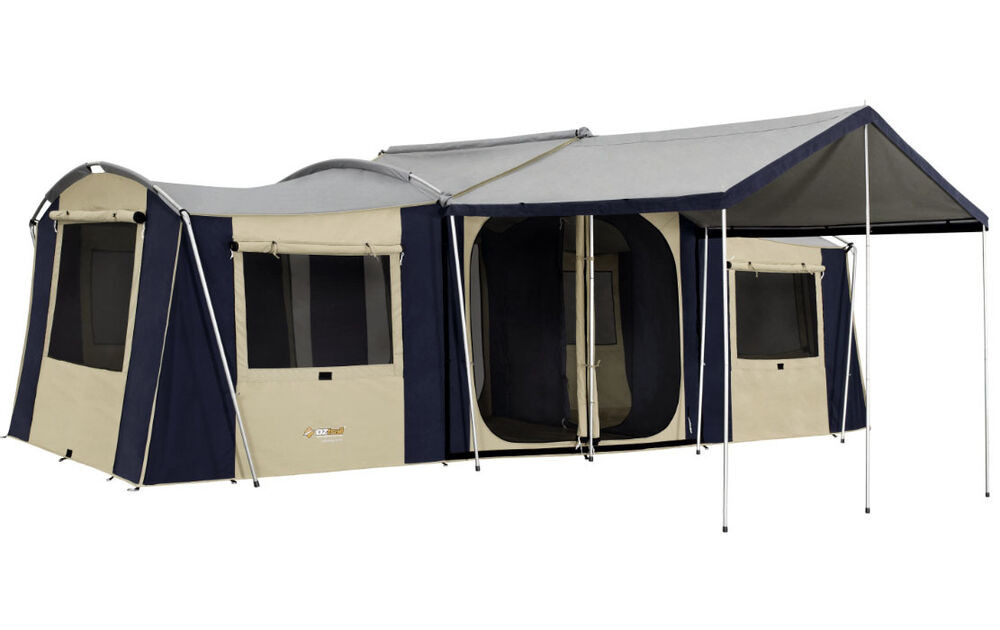 Oztrail Chateau 10 Family Canvas Cabin Tent 3 Room Ebay
