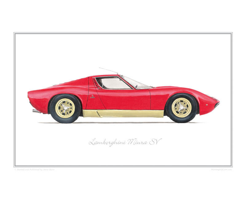 Lamborghini Miura Sv Limited Edition Classic Car Print Poster By