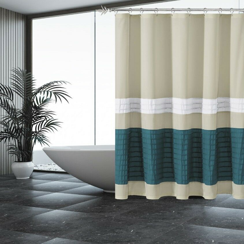 Beige Shower Curtain With Pleated Blue And White Pintuck Stripes EBay