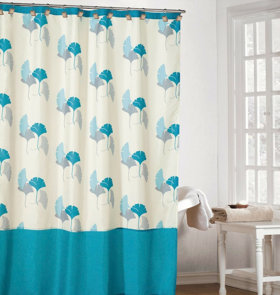 Off-White Color Fabric Shower Curtain With Light Blue