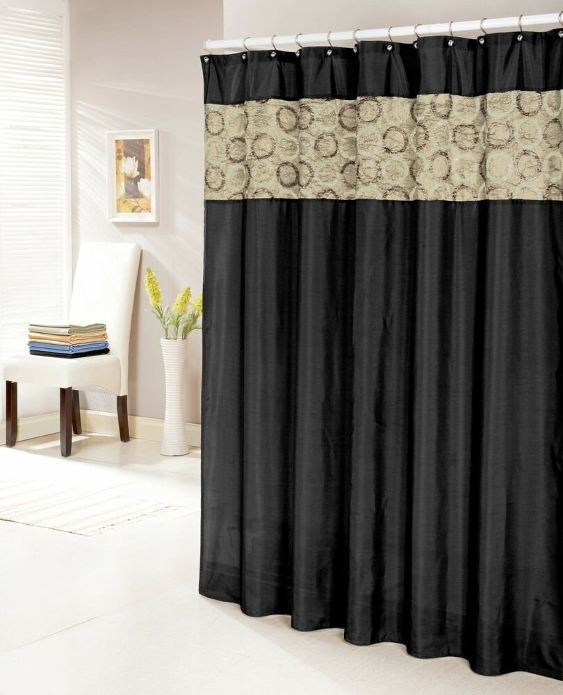 "Black Faux Silk Shower Curtain 14"" Textured and Circle Patterned Taupe ..."