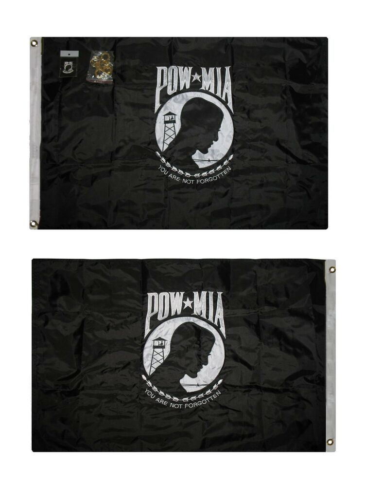 3x5 Embroidered Us Pow Mia Double Sided 2ply 300d Nylon