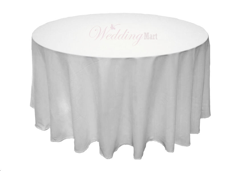 10pcs 120 round white polyester wedding table cloths for 120 round white table linens