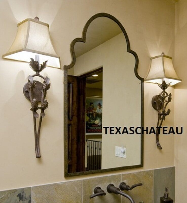 Arched bronze iron wall mirror spanish colonial style arch for Colonial style bathroom vanities