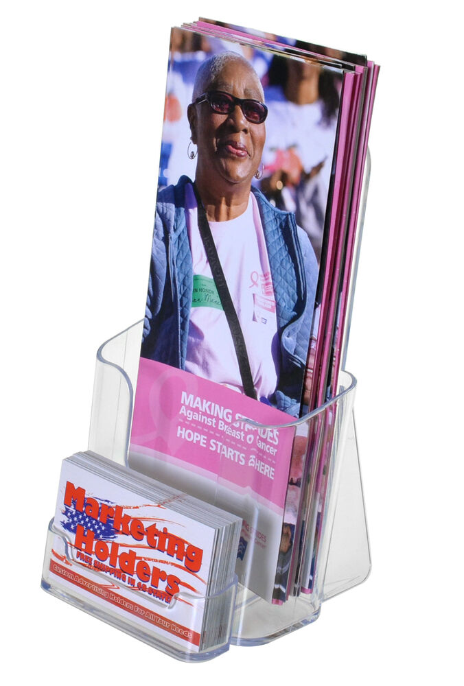Clear tri fold brochure holder with business card qty 12 for Flyer holder with business card
