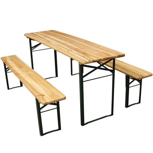 folding trestle bench table picnic camping party garden furniture wooden seat ebay. Black Bedroom Furniture Sets. Home Design Ideas