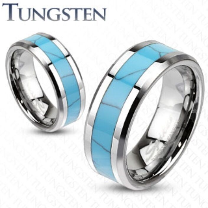 Mens womens tungsten turquoise inlay band ring wedding for Mens turquoise wedding rings