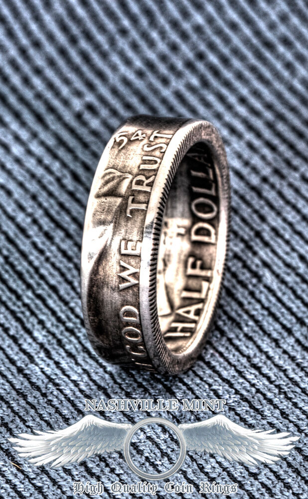 1948 1963 90% Silver Franklin Half Dollar Double Side Coin Ring Wedding Band