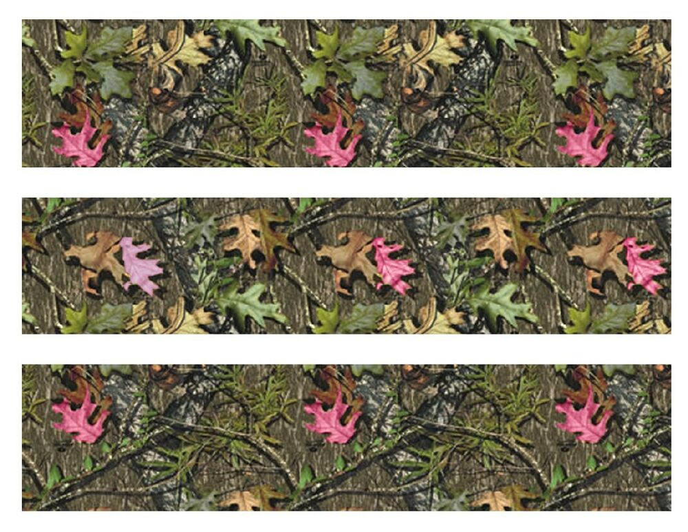 Mossy oak with pink leaves camo edible cake strips cake for Pink camo decorations