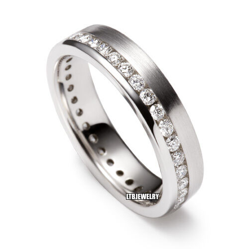 MENS 10K WHITE GOLD WEDDING BAND DIAMOND RING 5MM