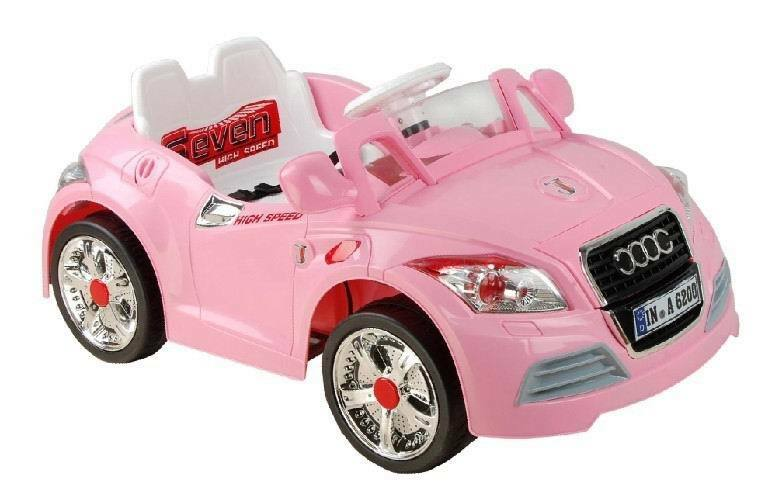 Kids 12v ride on electric audi tt roadster pink car for Motorized cars for 7 year olds