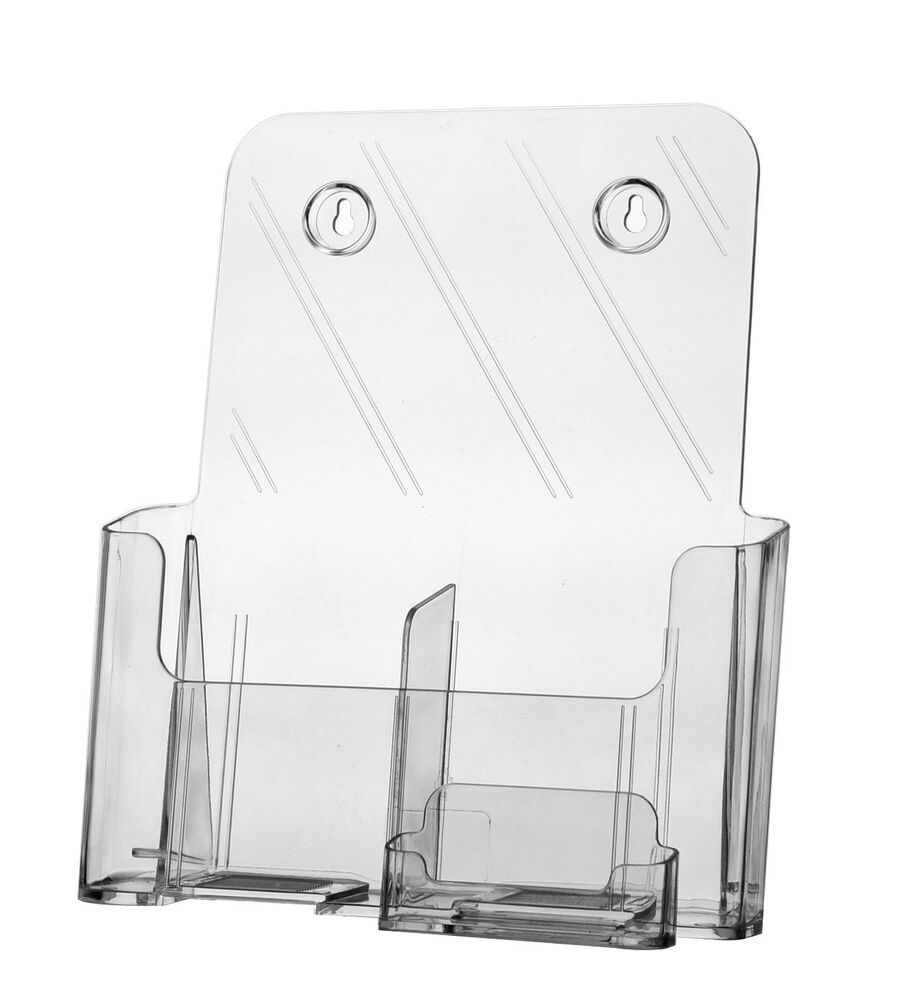 Clear acrylic slant back brochure holder with business for Clear plastic business card holder