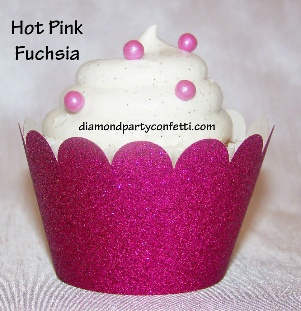 Cupcake Decorating Ideas Pink And Black : 12 Hot Pink Glitter Cupcake Wrapper Diamond Wedding Party ...