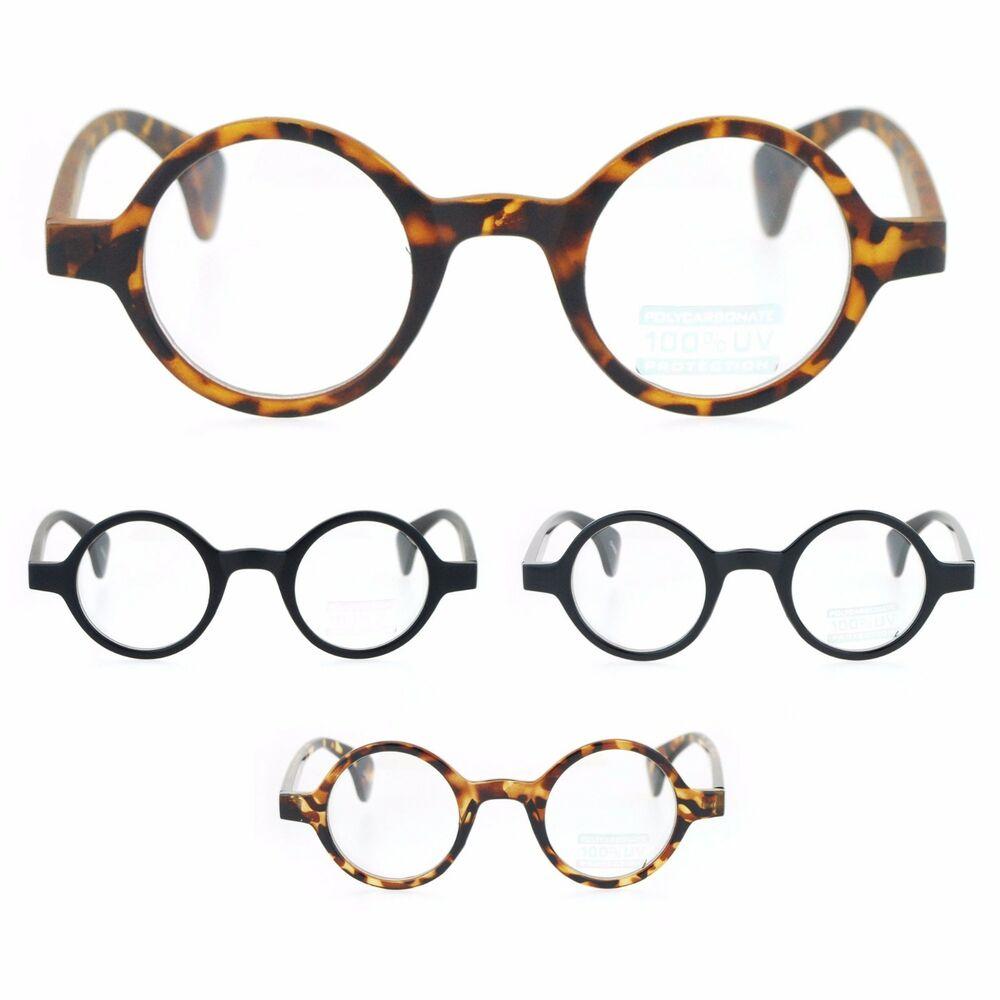 Retro Small Snug Plastic Frame Round Circle Clear Lens ...
