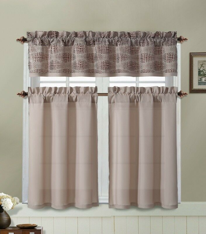 Taupe Kitchen Window Curtain Set 2 Tier Panel 1 Printed