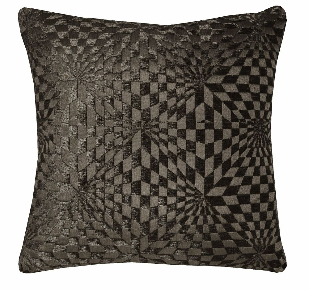 Throw Pillow Case Size : wg01a Dark Brown Geometric 3D Check Cotton Throw Pillow Case Cushion Cover*Size eBay