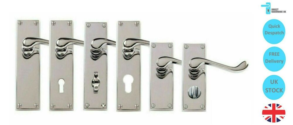 Victorian Chrome Scroll Door Handle Sets Lever Latch Lock
