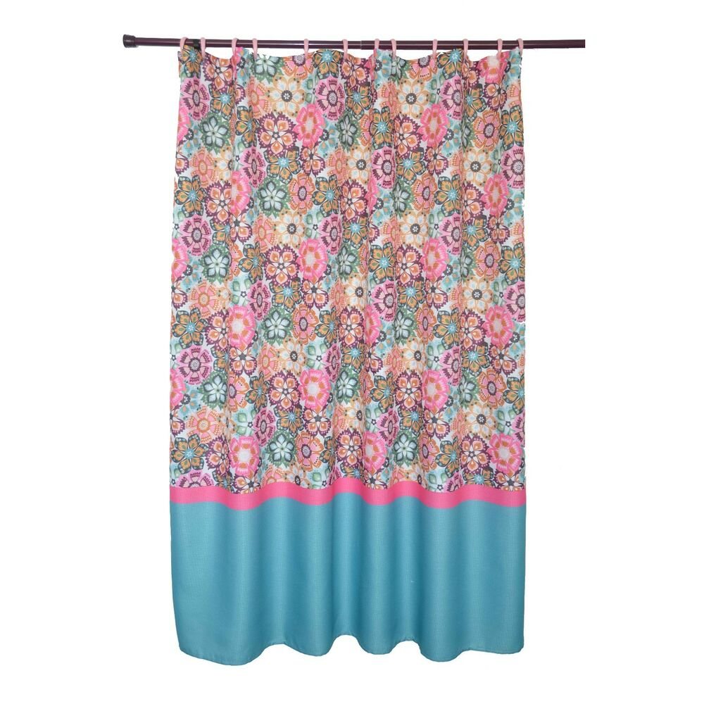 Waffle texture folk multi colored bright floral pattern Colorful shower curtains