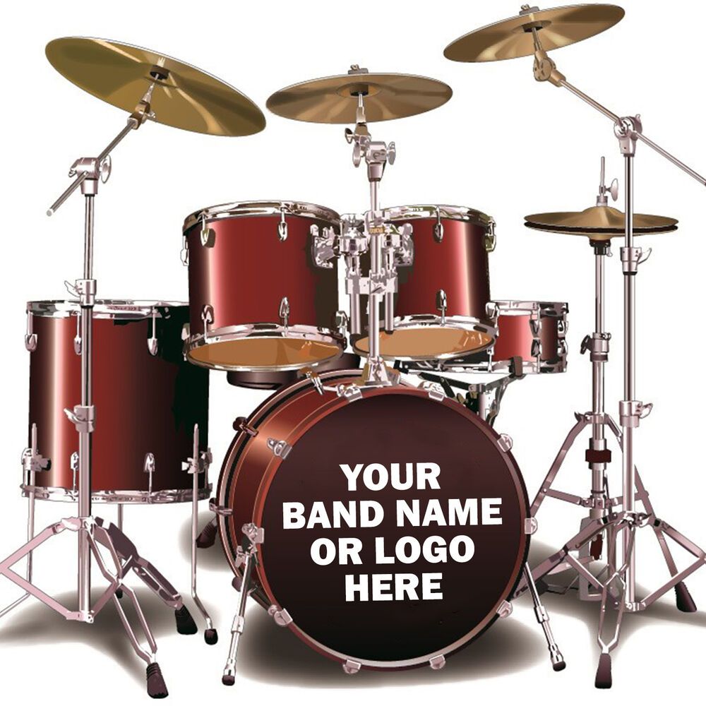 Details about custom bass drum sticker personalised kick drum vinyl decal band name or logo
