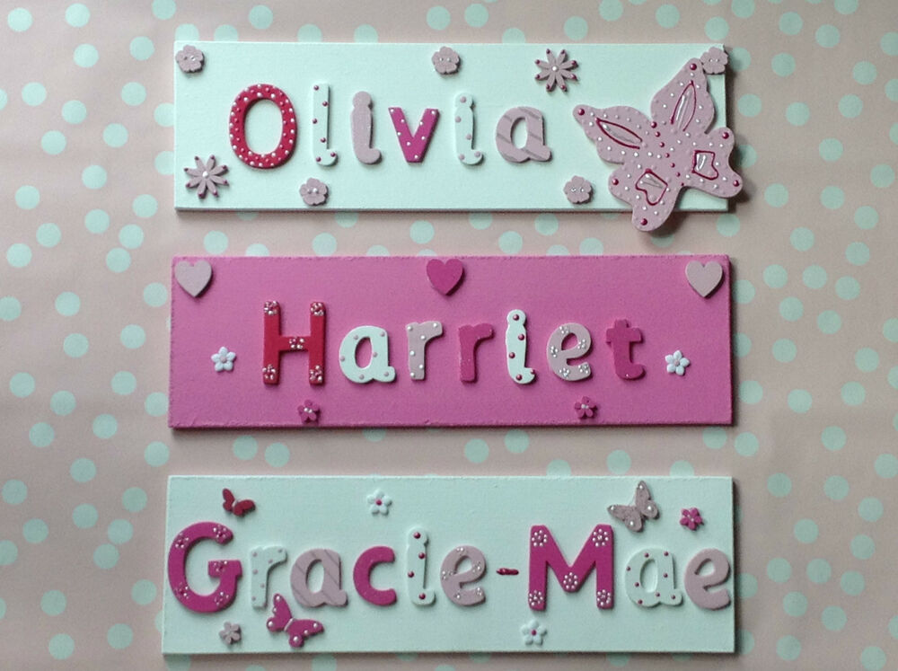 Children kids wooden name plaque personalised bedroom boy for Signs for kids rooms
