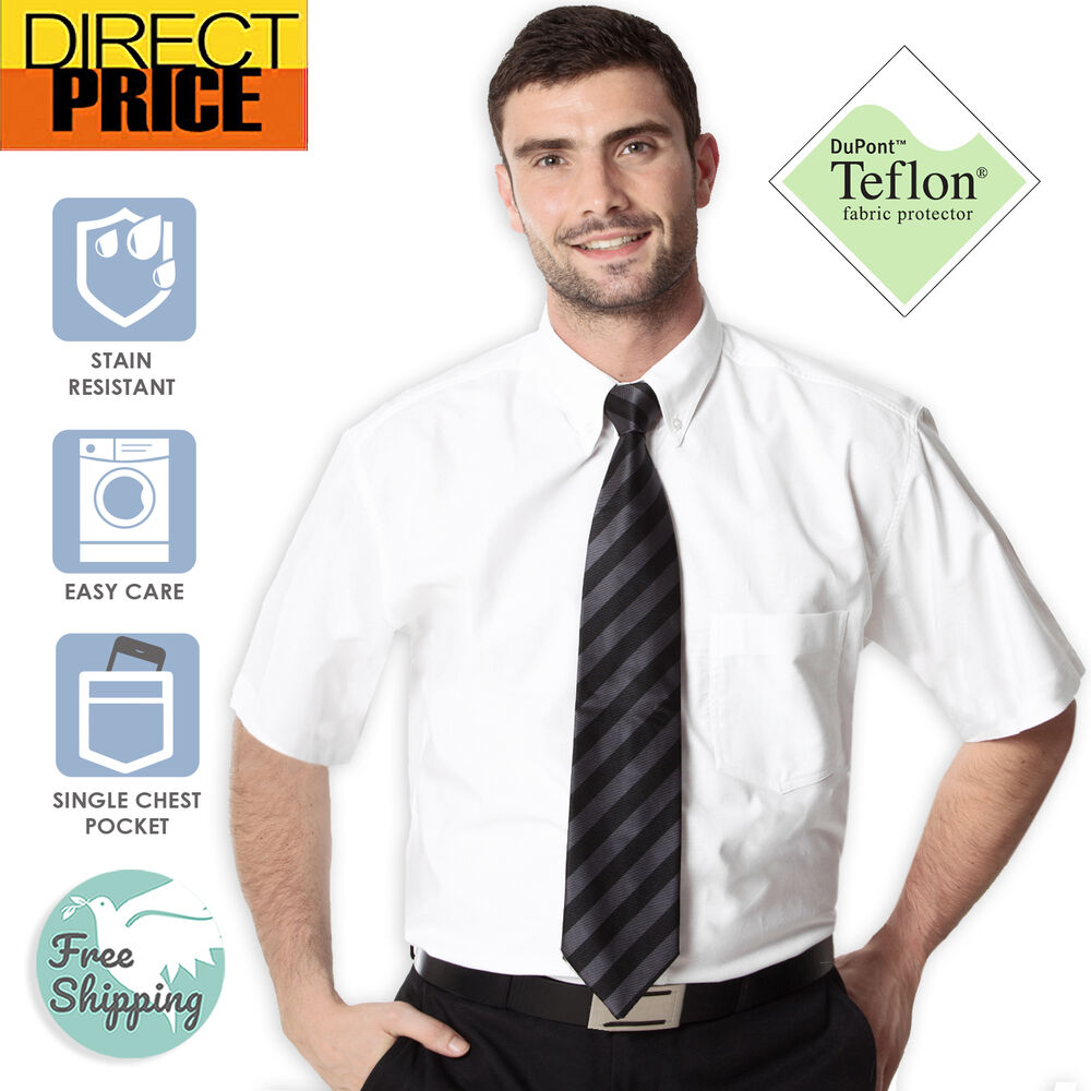 Mens white oxford shirts casual office school cotton for White cotton work shirts