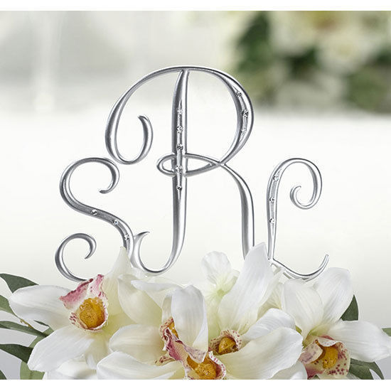 wedding cake toppers initials silver monogram wedding cake topper initials set of 3 with 26509