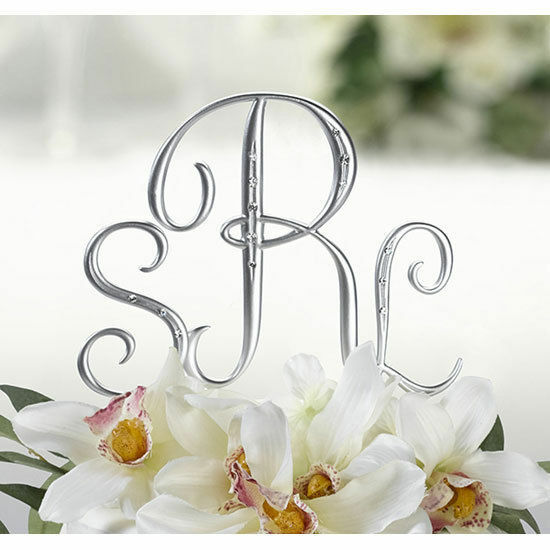 Silver Monogram Wedding Cake Topper Initials Set Of 3 With Crystals