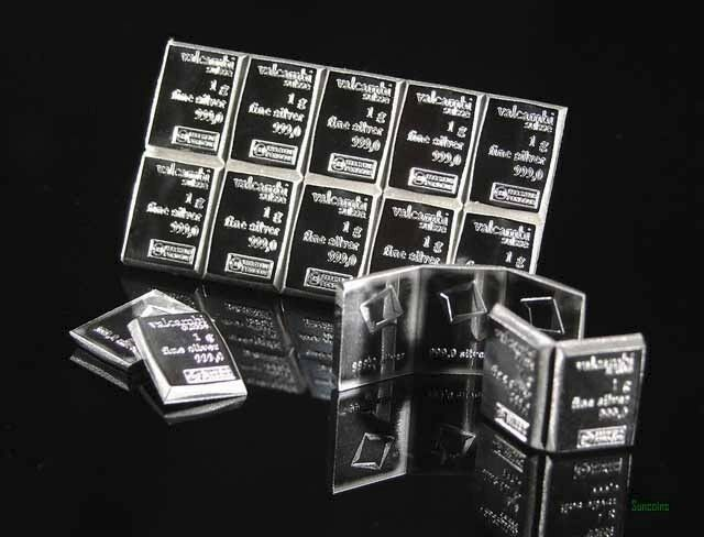 Block Of Ten 1 Gram Valcambi Suisse 999 Fine Silver Bars