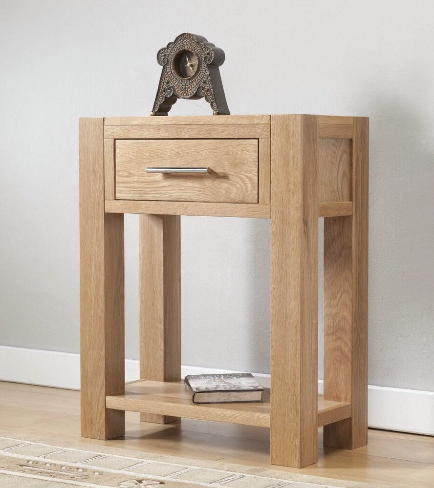 solid wood chunky oak small console table ebay. Black Bedroom Furniture Sets. Home Design Ideas