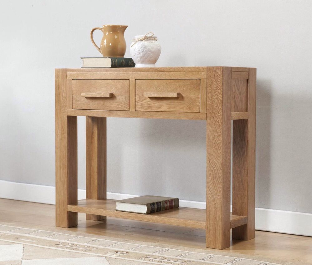 Solid wood chunky oak large console table ebay for Sofa table large