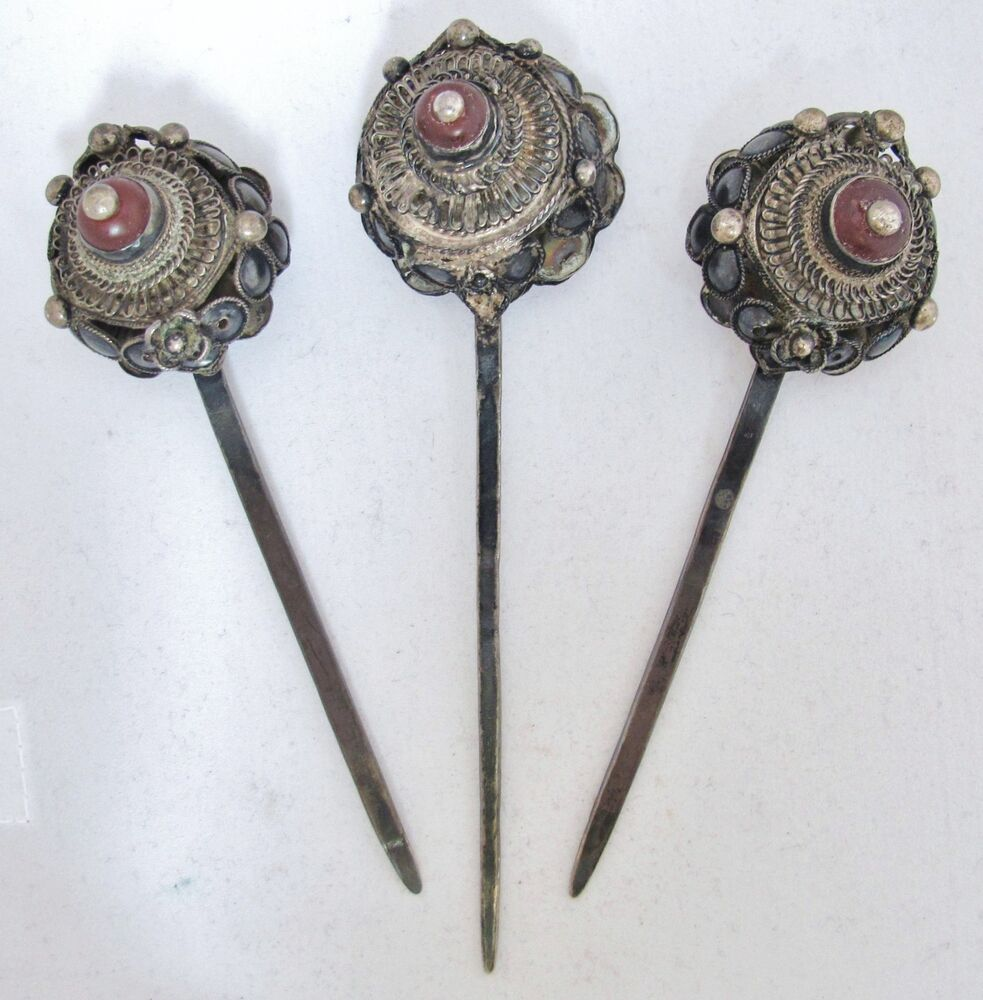 3 Antique Chinese Silver Hair Pins With Orange Carnelian