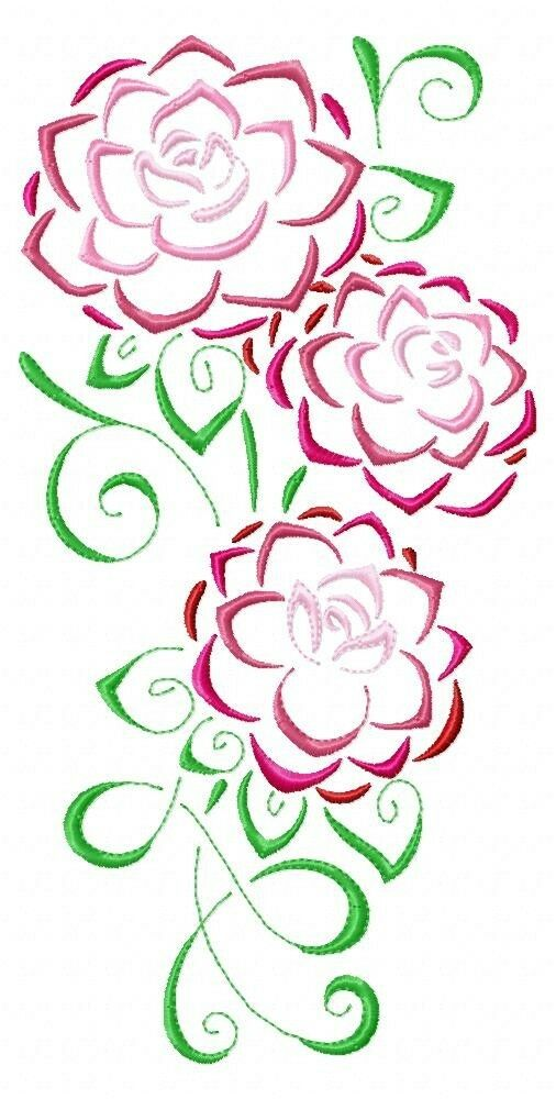 Art deco camellias machine embroidery designs cd in