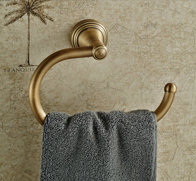 Reproduction Vintage Bath Towels: Antique Brass Wall Mounted Towel Rack Holder Bathroom