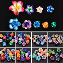 10~50pcs 10~30mm Colorful Clay Polymer Flower Findings Loose Spacer Beads