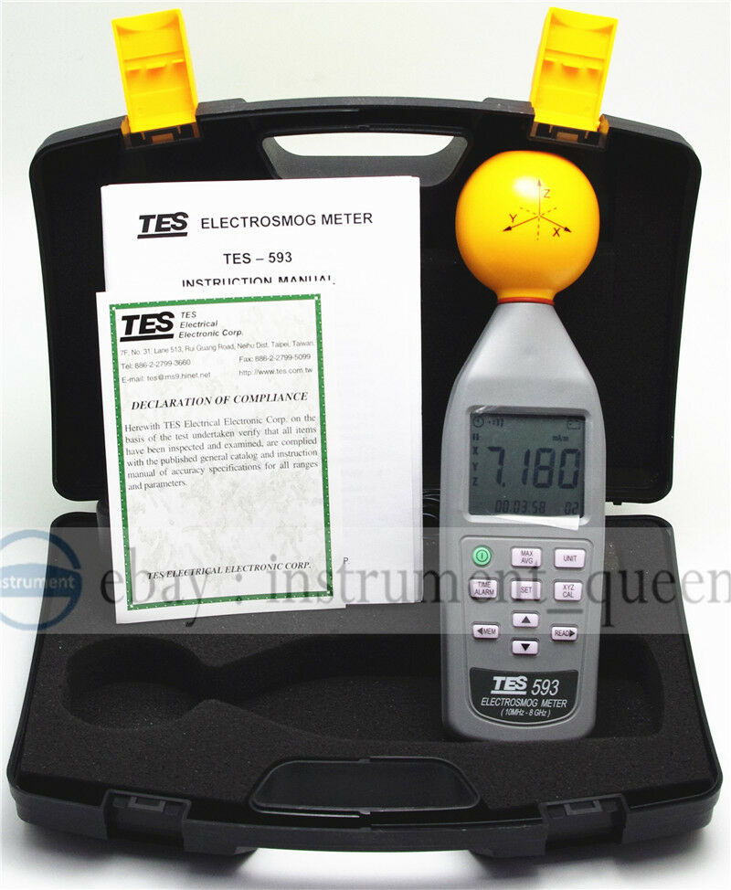 tes 593 electrosmog meter 3 axis isotropic measurements of emf new ebay. Black Bedroom Furniture Sets. Home Design Ideas