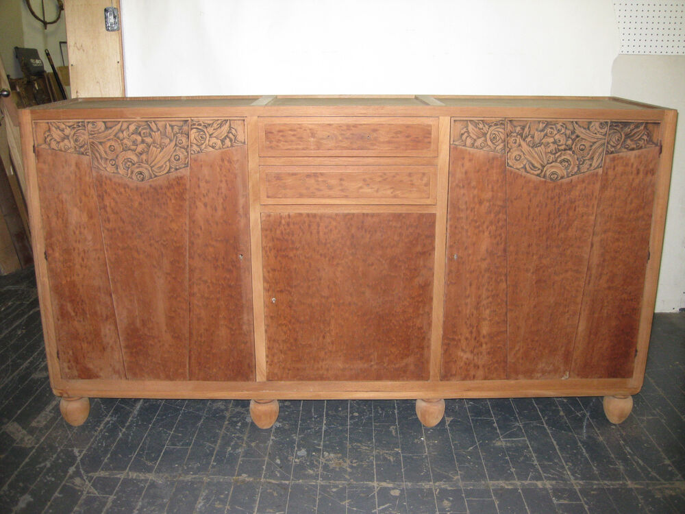 french art deco sideboard large buffet server credenza pair avail ebay. Black Bedroom Furniture Sets. Home Design Ideas