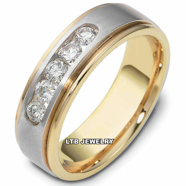 2 Tone Men Bands: MENS 10K TWO TONE GOLD DIAMOND WEDDING BAND RING
