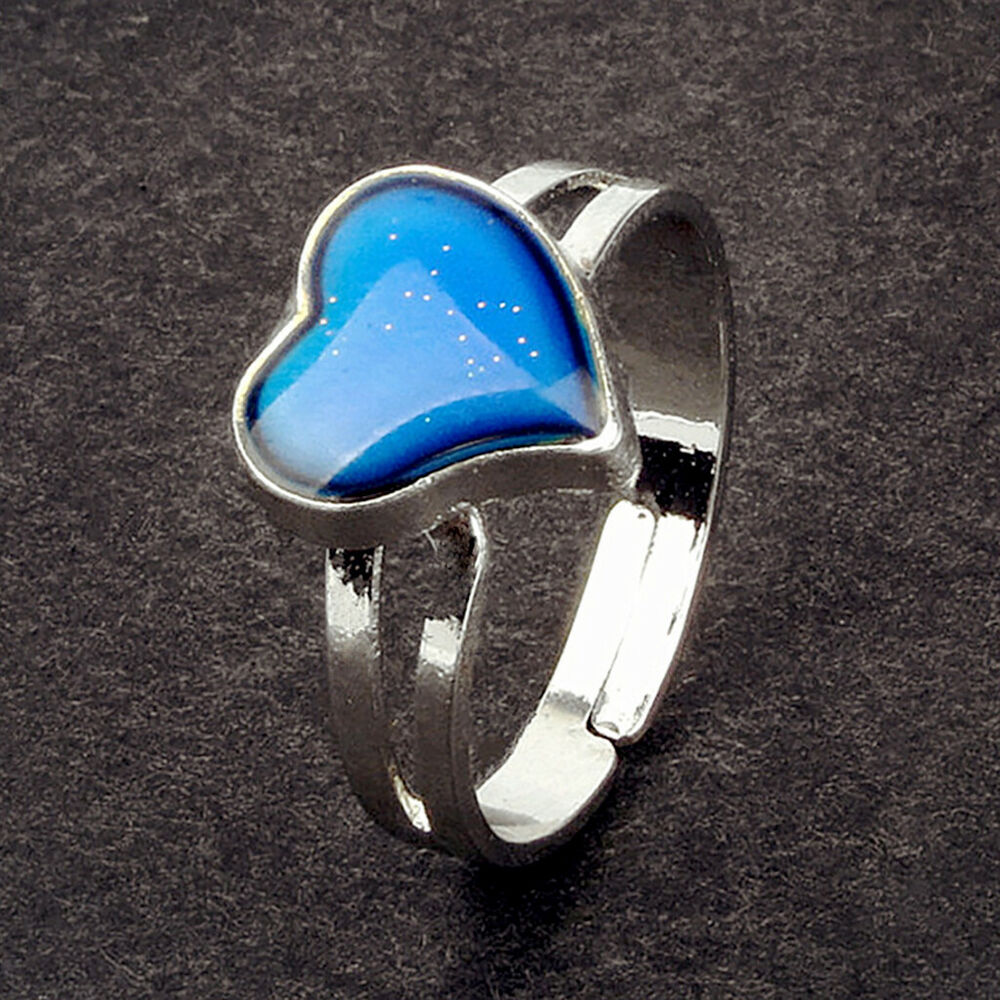 Kids Adult U0026 39  Heart Mood Ring Emotion Feeling Adjustable