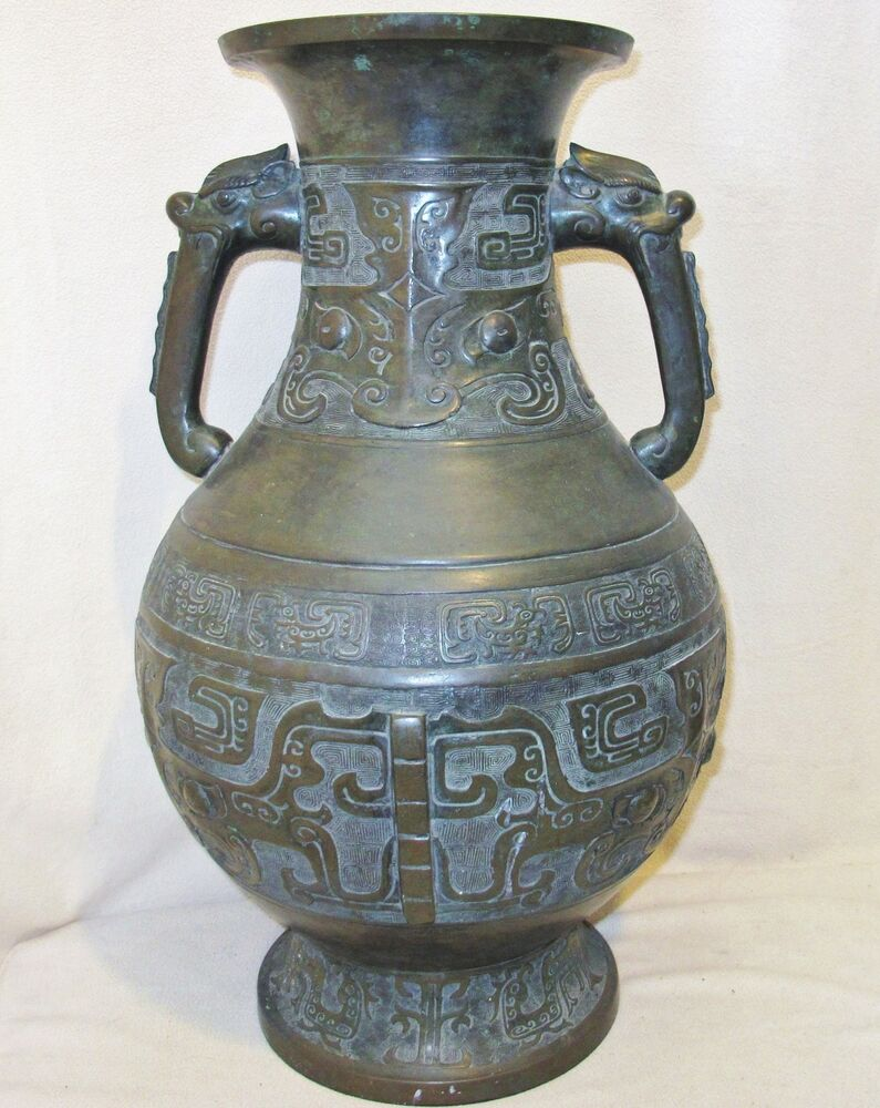 Big 23 6 Quot Chinese Archaic Style Bronze Vase W Beast Faces
