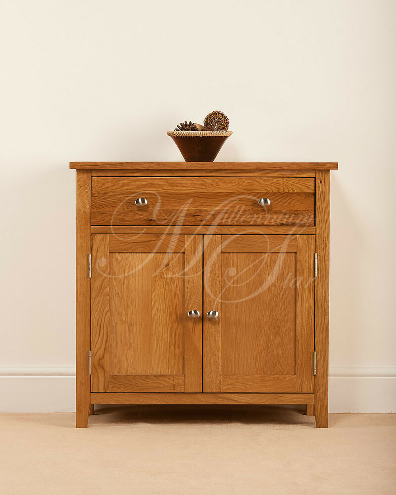Solid oak small compact sideboard cupboard cabinet ebay for Cupboard or cabinet