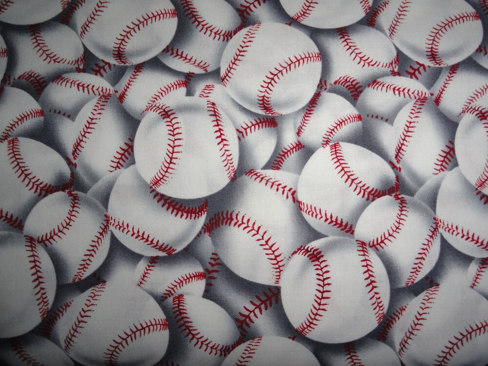 Baseball Sports Hard Ball Little League Cotton Fabric