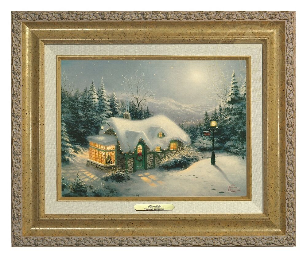 thomas kinkade silent night canvas classic 9 x 12 gold frame ebay. Black Bedroom Furniture Sets. Home Design Ideas