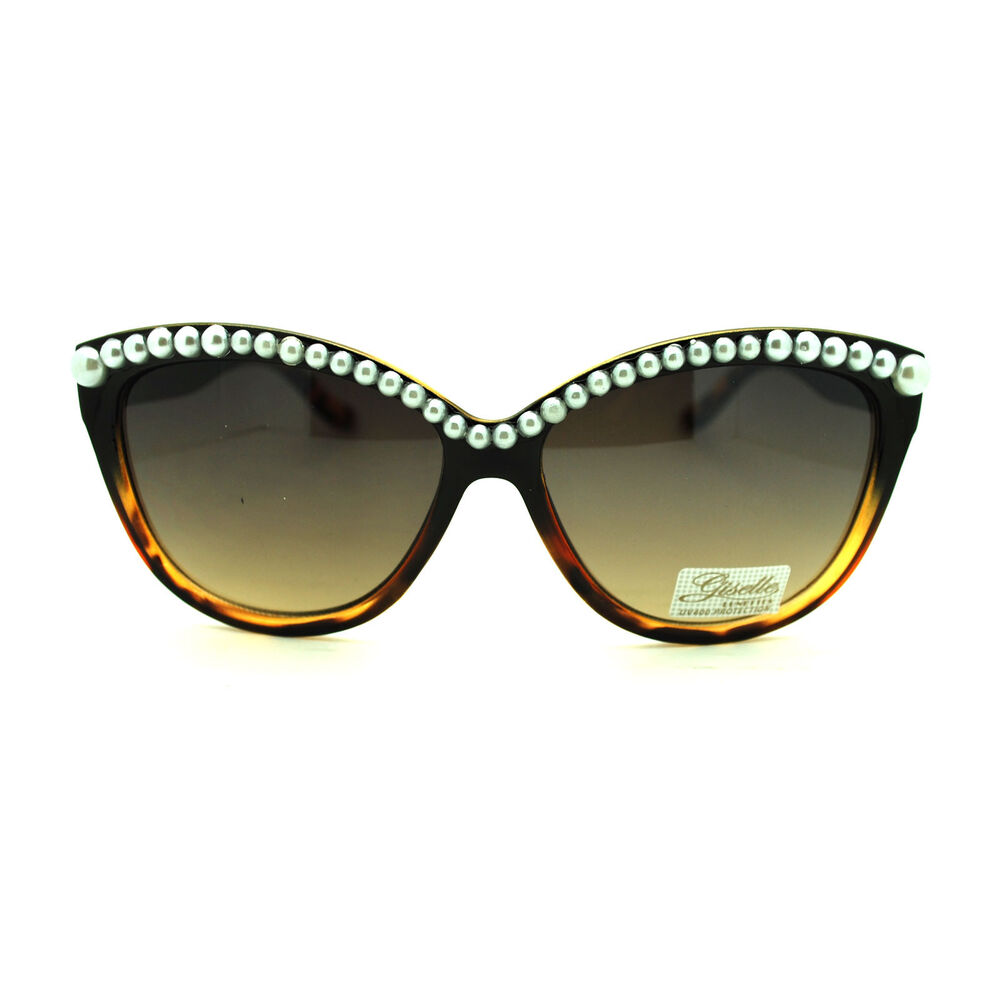 Thick plastic pearl bead brow cat eye a designer sunglasses ebay