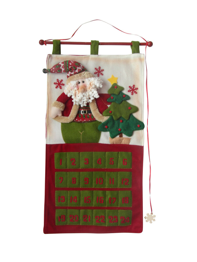 Christmas hanging advent calendar fabric door wall for Advent calendar decoration