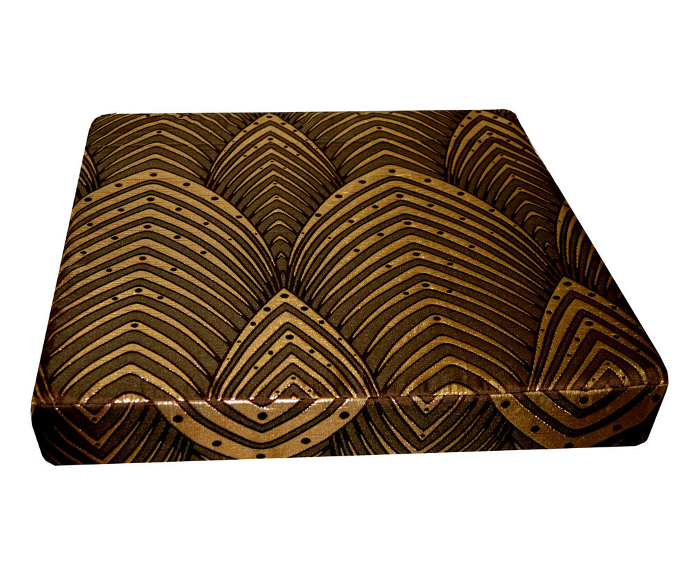hj01t brown lt gold brown peacock feather 3d box square sofa seat cushion cover ebay. Black Bedroom Furniture Sets. Home Design Ideas