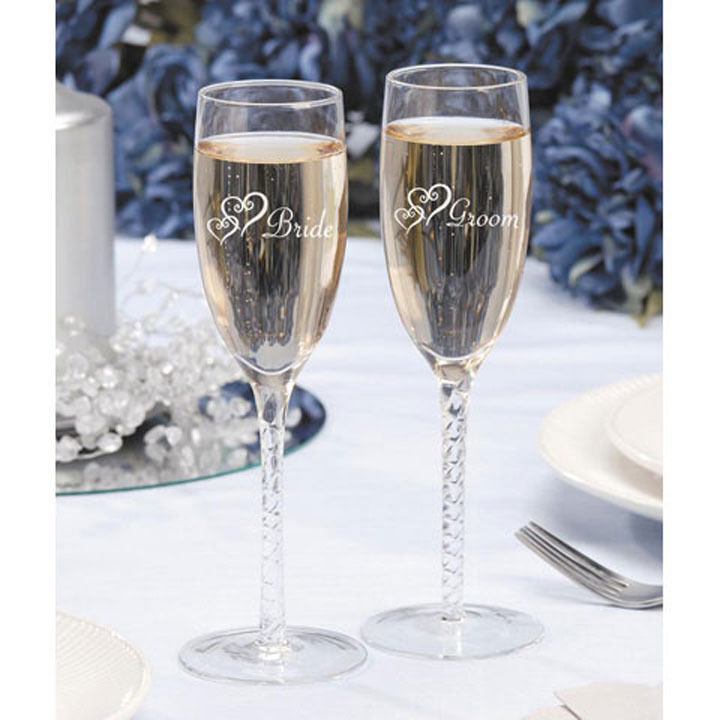 Bride And Groom Glasses Toasting Flutes
