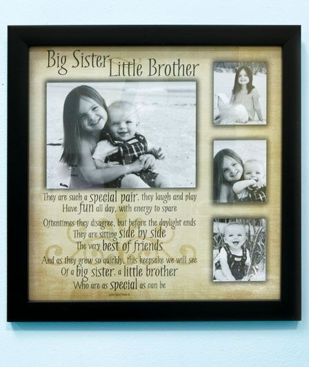 Big Sister Little Brother Sibling Collage Photo Frame