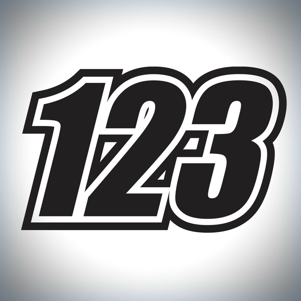 Details about 3 x custom race numbers vinyl stickers dirt bike motocross trials decals