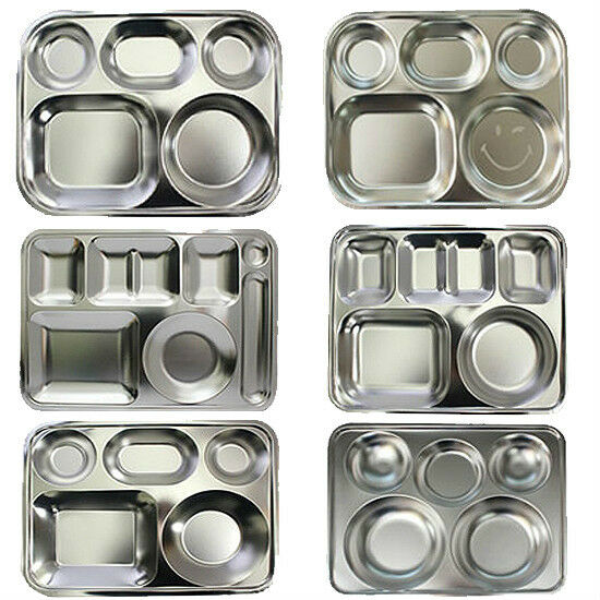 diet plate divided portion diet food control tray stainless steel food tray ebay. Black Bedroom Furniture Sets. Home Design Ideas